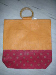 Dyed Jute Bag With Cane Handle