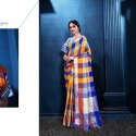Linen Checks Party Wear Saree
