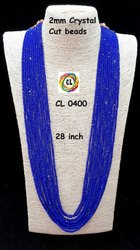 Cl Code Royal Blue Crystal Beads Bollywood Fashion Designer Long Haram Necklace