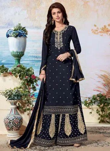 a7a183ecb8 Navy Blue Upada Silk Wedding Wear Palazzo Salwar Suits, Rs 1595 ...