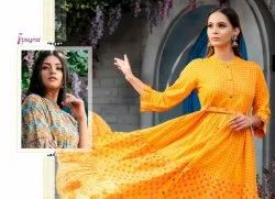 Phool Vol-2 Party Wear Long Gown Type Cotton Slub Fancy Kurtis