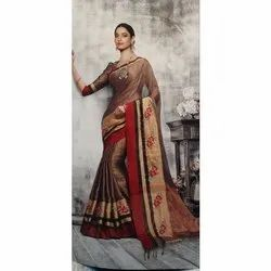 Party Wear Embroidery Ladies Embroidered Saree, Packaging Type: Plastic Bag, 5.5 m (separate blouse piece)
