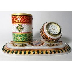 Multicolor Traditional Marble Office Set, For Decoration