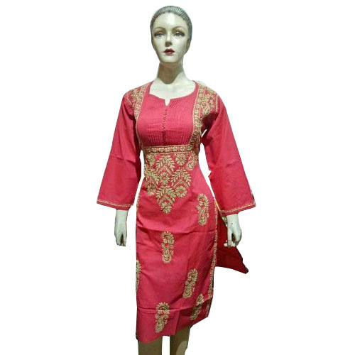 Ladies Cotton Full Sleeve Stylish Embroidered Designer Kurti