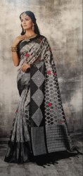 Casual Wear Black and White Printed Cotton Saree, 5.5 m (separate blouse piece)