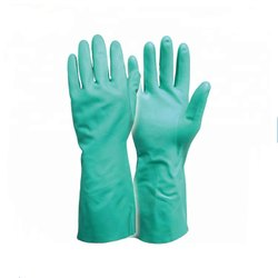 Green Flocklined Nitrile Gloves
