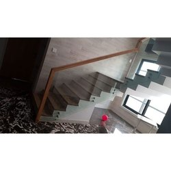 Stairs Staircase Wooden Glass Point Fittings Railing