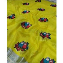 Party Wear Ladies Embroidered Silk Saree, 5.5 m (separate blouse piece)