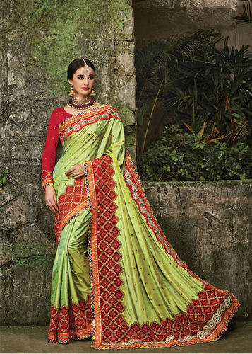 e501f504a1 Pista Green Wedding Wear Designer Party Wear Paper Silk Saree, Rs ...