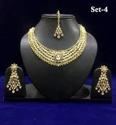 Artificial Stone Indian Bridal Necklace Sets with Earrings