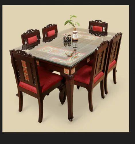 Wooden 6 Seater Dining Table Set Rs 40000 Unit Khatu Shyam Enterprises Id 22148388991