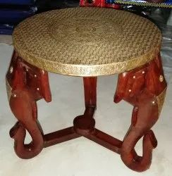 Wooden Metal Fitted Round Stool with Designer Elephant Face Center Wooden Round  Stool