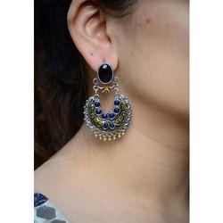 Black Stone Fancy Earrings