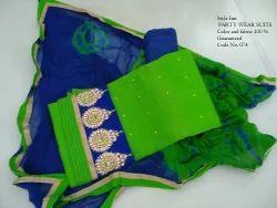 Cotton With Chiffon Dupatta suits Suits