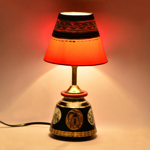 Madhubani Handpainted Table Lamp In Terracotta