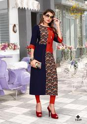 RT Nari Vol-5 Series 1033-1040 Stylish Party Wear Rayon Kurti