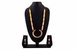 OXJ013 Oxidized Yellow Thread Necklace