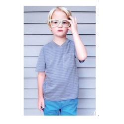 Half Sleeves Kids V Neck T Shirt