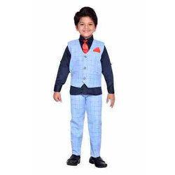 Sky Blue Party Wear Kids Suit