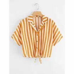 Alpha Linen Girls Crop Shirt, Size: S-XXL