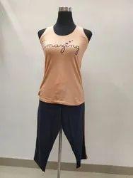 Cotton Girls Sleeveless Night Suit, Top and Capri
