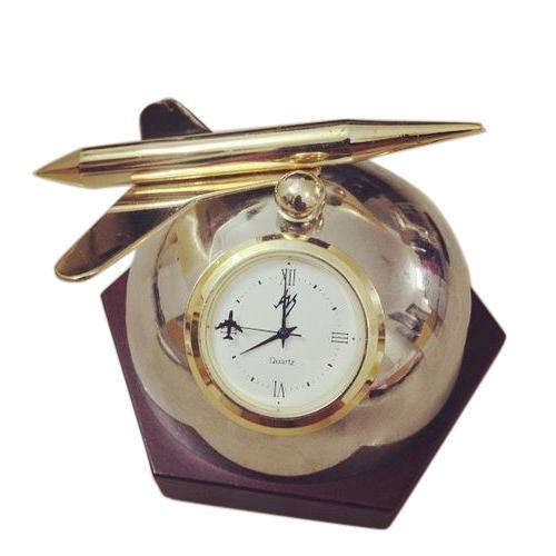 Airplane Metal Table Clock With Wooden Base