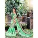 Green Party Wear Designer Ladies Cotton Saree, 6.3 M (with Blouse Piece)