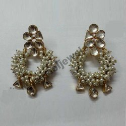Indian Kundan Silver Earring Jewelry