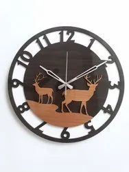 Analog Wooden Acrylic Round Wall Clock, For Office