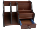 Wooden Pen Stand Desktop Drawer Storage Organizer for Table School and Office Supplies