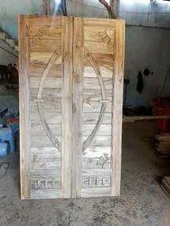 Solid Wood Sagwan Material Door Double Door
