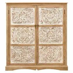 Double Door Wooden Carved Cabinet, Number Of Doors: 2