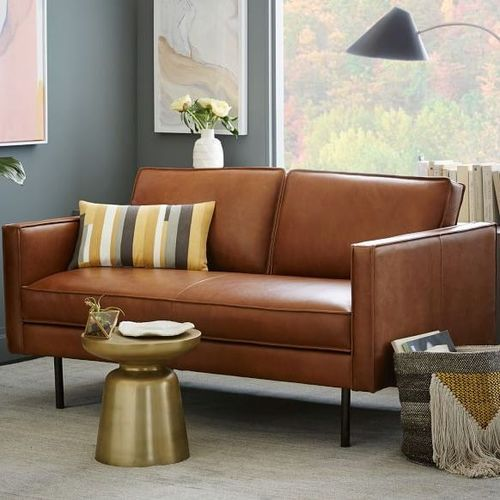 Top Grain Leather Brown Refurbished Sofa For Home