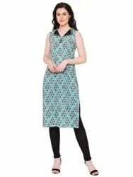 Yash Gallery Women's Cotton Printed Straight Kurta