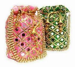 Silk Mirror/Embroidered Potli Bag