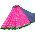 Shibori Pom Pom Lace Saree, Length: 5.5 M