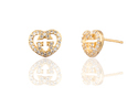24k Gold Plated Apple Shaped Brass Stud Earring