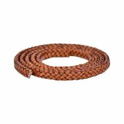 Brown Distressed Oval Flat Braided Bracelet Leather Cord