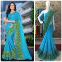 Blue Color Chiffon Multi Work Designer Border Saree With Blouse