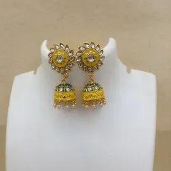 111 Green Yellow Kundan Earrings