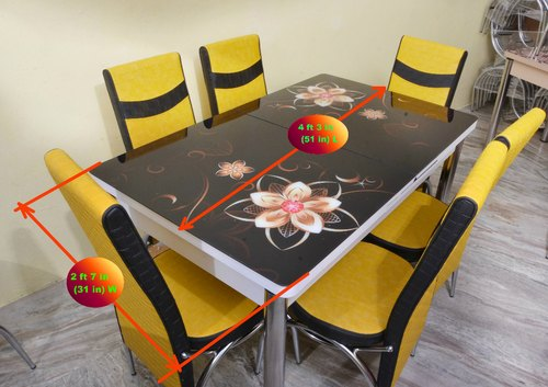 Loyal Furn Blackmagic Six Seater Glass Top Extendable Dining Table At Rs 22666 Set Dining Table Set Id 21145686948