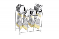 Round Stainless Steel Montova Passion Cutlery Set 24 Pc