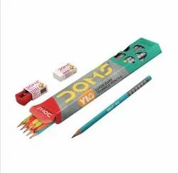 Black Wood Doms Y1 Plus Pencils With Free Sharpner And Eraser, For School & Collage