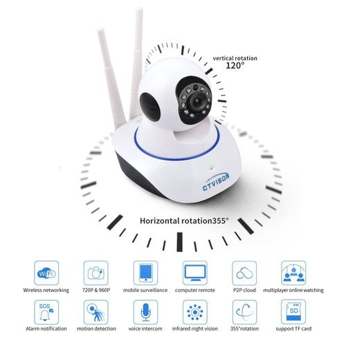 Wireless HD IP Wifi CCTV Indoor Security Camera,(White Color