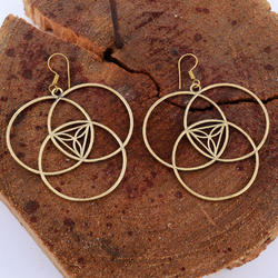Geometric Brass Art Deco Dangle Drop Earrings