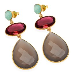 Gray Chalcedony Ruby Quartz Hydro & Aqua Chalcedony Earrings