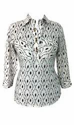 Lavanya Off white base rayon with black ikat print shirt