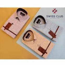 Cotton Printed Swiss Club Mens Formal Print Shirt, Machine wash
