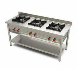 Stainless Steel SS Three Burner Cooking Range
