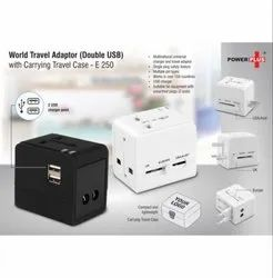 World Travel Adapter (Double USB) With Carrying Travel Case, Packaging Type: Box